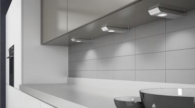 Domus Line's Maya V12 LED Spotlights are made architecture, bathroom, countertop, daylighting, floor, glass, interior design, kitchen, light, light fixture, lighting, product design, sink, tap, gray
