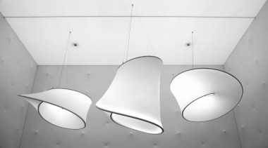 Lighting installation by Ross Lovegrove - Lighting installation angle, black and white, ceiling, design, lamp, light, light fixture, lighting, lighting accessory, line, monochrome, monochrome photography, plumbing fixture, still life photography, white, gray