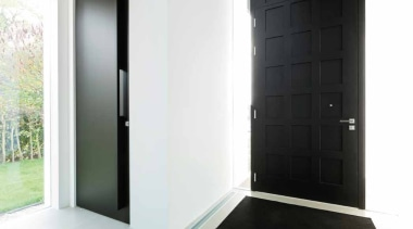 LSQII - Solid Lever Handle on Rose with architecture, door, floor, interior design, property, window, white, black