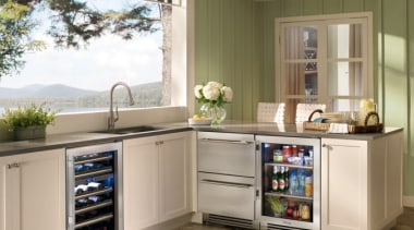 The new True Professional website at www.true-residential.com is cabinetry, countertop, cuisine classique, home appliance, kitchen, kitchen appliance, major appliance, refrigerator, gray, brown