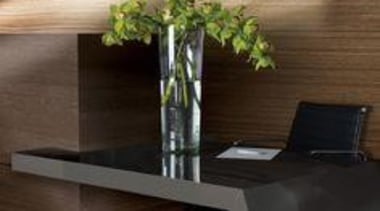 Walls featuring two colours in Laminex Designed Timber floor, furniture, glass, interior design, table, wood, black