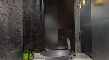 New Albany Show Home bathroom, countertop, interior design, room, sink, black, gray