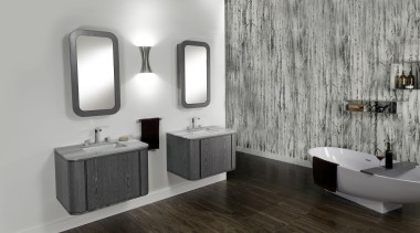 Free-standing under-counter vanity for one lavatory, with one bathroom, bathroom accessory, bathroom cabinet, floor, interior design, plumbing fixture, product design, room, sink, tap, gray