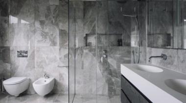 Highly Commended – Natalie Du Bois, Du Bois architecture, bathroom, black and white, floor, flooring, interior design, plumbing fixture, room, tap, tile, wall, gray, black