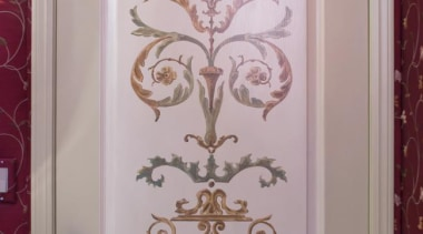 The hand painted mural at the vanity was design, door, flower, interior design, paint, picture frame, pink, purple, wall, window, gray