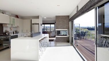 Staple top island unit features in this kitchen architecture, house, interior design, kitchen, real estate, white, gray
