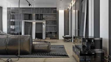 creative clear storage - Masculine Apartments - floor floor, flooring, furniture, interior design, living room, lobby, gray, black