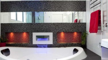 Black bathroom with red and blue accent - bathroom, interior design, property, room, black, gray