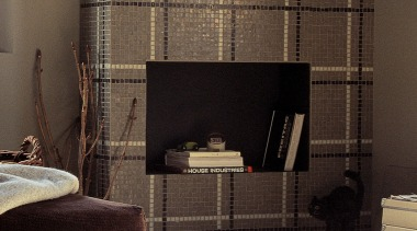 bianco-cemento-moka vetro mosaic feature wall - Vetro Mosaics curtain, fireplace, floor, flooring, furniture, hearth, interior design, living room, wall, window, window blind, window covering, window treatment, wood, black, brown