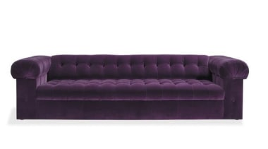 """My natural inclination for grandeur prompts me to angle, couch, furniture, product, product design, purple, sofa bed, white, purple"