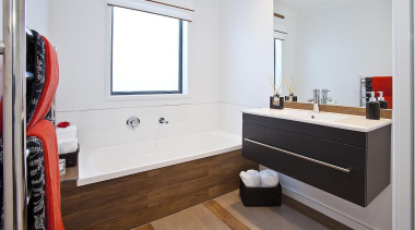 For more information, please visit www.gjgardner.co.nz bathroom, bathroom cabinet, floor, interior design, room, sink, white