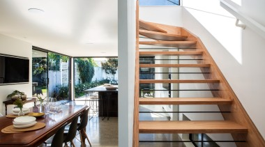 Box Living - Highly Commended – 2016 TIDA architecture, handrail, house, interior design, property, real estate, stairs, white