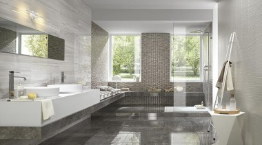 Floor tiles: Royal GreyWall tiles: Elegance Striato bathroom, floor, flooring, interior design, room, tile, gray