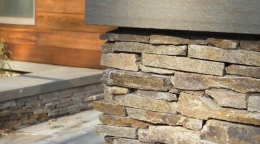 Frank Lloyd Wright Residential Renovation, Cambridge, MANeed to floor, stone wall, wall, wood, wood stain, gray, brown