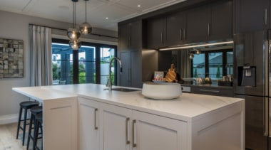 New Albany Show Home cabinetry, countertop, cuisine classique, interior design, kitchen, real estate, room, gray, black