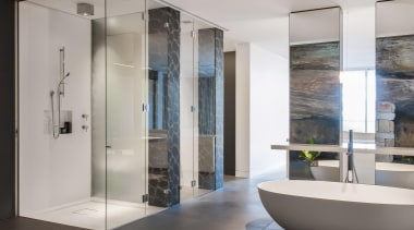 Winner Bathroom Design of the Year 2013 New bathroom, floor, glass, interior design, plumbing fixture, gray