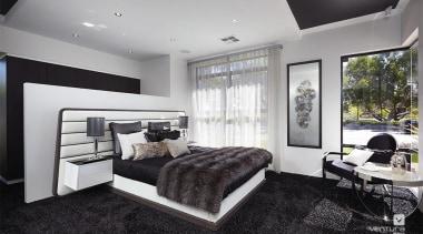 Master ensuite design. - The Montrose Display Home bedroom, ceiling, interior design, real estate, room, window, gray, black