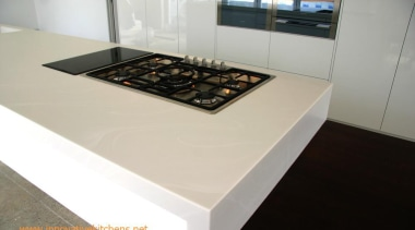 Corian benchtop with waterfall ends - Corian benchtop countertop, floor, kitchen, table, white, gray