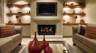 karaka  mds lounge 1 - karaka__mds_lounge_1 - fireplace, hearth, home, interior design, living room, room, brown, orange