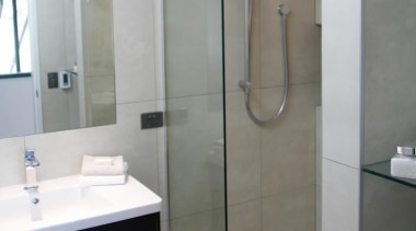 Earthstone talc ivory porcelain tiled bathroom - Earthstone bathroom, floor, glass, plumbing fixture, product design, room, tile, gray