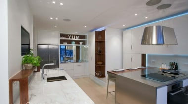 Downtown Penthouse Living - Downtown Penthouse Living - ceiling, countertop, interior design, kitchen, living room, property, real estate, gray