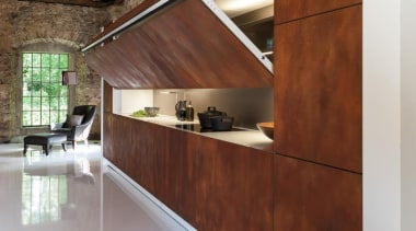 An imposing wall of weathered corten steel one architecture, floor, flooring, furniture, house, interior design, wall, wood, brown, gray