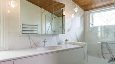 Marble Bathroom - Marble Bathroom - architecture | architecture, bathroom, ceiling, daylighting, home, house, interior design, real estate, room, sink, gray, brown