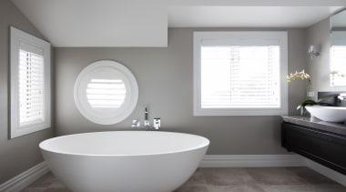25 bathroom after - Bathroom After - bathroom bathroom, bathroom accessory, bathroom sink, floor, home, interior design, plumbing fixture, product design, room, sink, tap, window, gray