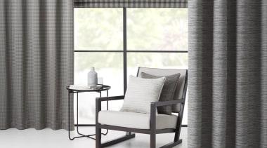 Summit 03 - chair | curtain | floor chair, curtain, floor, furniture, interior design, shade, table, textile, wall, window, window blind, window covering, window treatment, white, gray