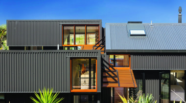 Makarori Beach House - V-Rib - Slate - architecture, elevation, facade, home, house, real estate, residential area, roof, siding