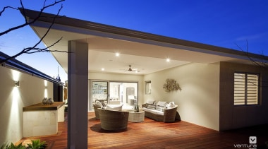 Alfresco entertaining. - The Indulgence Display Home - daylighting, estate, home, house, interior design, property, real estate, roof, blue