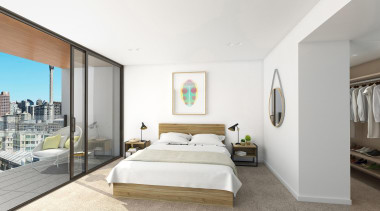 The first stage of Wynyard Central is an architecture, bed frame, bedroom, ceiling, estate, interior design, property, real estate, room, suite, white, gray