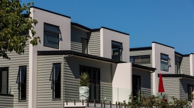 The new and innovative Envira Weatherboard System, with apartment, architecture, building, condominium, elevation, facade, home, house, mixed use, neighbourhood, property, real estate, residential area, siding, window, gray, black, teal