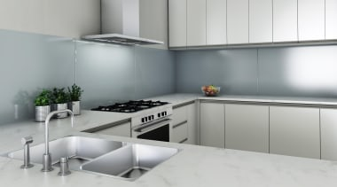 Featuring Seratone Sneaky Mist as a splashback, a countertop, interior design, kitchen, product, product design, room, gray