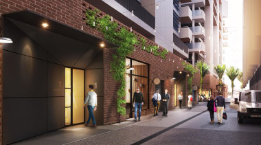 The first stage of Wynyard Central is an building, lobby, real estate, black
