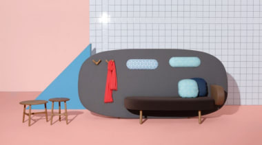 A playful mix of shapes, colours and textures design, product, product design, table, pink, white