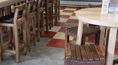Micro Topping done at Toby Jugg Inn - chair, flooring, furniture, table, wood, gray