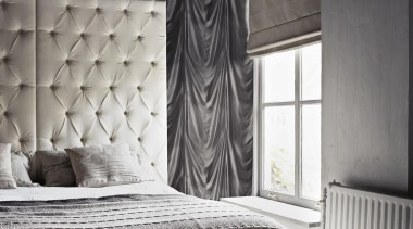 Caravaggio. Black drape looking wallpaper. - Black and bed, bed frame, bed sheet, bedroom, black, black and white, curtain, floor, furniture, interior design, mattress, monochrome photography, room, textile, wall, window, window covering, window treatment, wood, black, gray