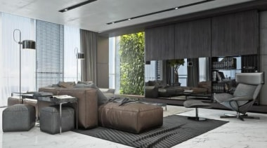 slick livingroom - Masculine Apartments - ceiling | ceiling, floor, furniture, house, interior design, living room, property, white, gray, black