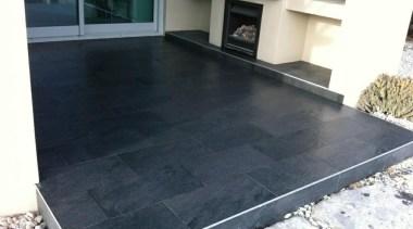 Stone D graphite exterior patio tiles - Stone asphalt, floor, flooring, property, tile, black, white, gray