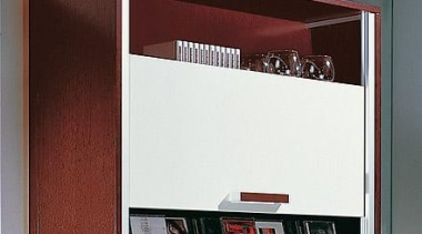 VerticoMono - Cabinet with sliding doors - Vertically furniture, product design, shelf, shelving, red, white