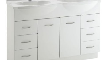 The largest vanity in the range available with bathroom accessory, bathroom cabinet, bathroom sink, drawer, plumbing fixture, product, product design, sink, tap, white, gray
