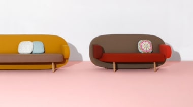 A playful mix of shapes, colours and textures couch, furniture, product, product design, table, pink, white