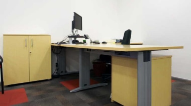 OfficeMax provides a comprehensive furniture solution, a full angle, desk, floor, flooring, furniture, office, product design, table, white, black