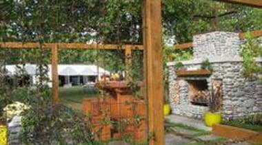 At Ellerslie International Flower Show - At Ellerslie backyard, cottage, landscape, outdoor structure, pergola, real estate, tree, yard, brown
