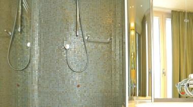 carbone lux bathroom wall shower mosaic - Vetro bathroom, floor, flooring, glass, interior design, plumbing fixture, room, shower, tile, wall, brown, green