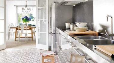 Industrial meets country - Kitchen Design - Industrial countertop, floor, flooring, interior design, kitchen, white