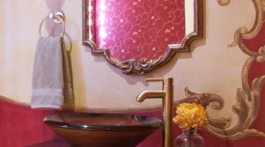 This wonderful french inspired Powder Room Has a furniture, interior design, light fixture, lighting, lighting accessory, pink, purple, room, table, red