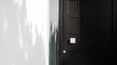 LSQ61V - Solid Front Door Knob Fixed on black, black and white, door, light, wall, window, wood, black, white