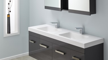 Soft basin corners and thick external lines give bathroom, bathroom accessory, bathroom cabinet, bathroom sink, plumbing fixture, product, product design, sink, gray